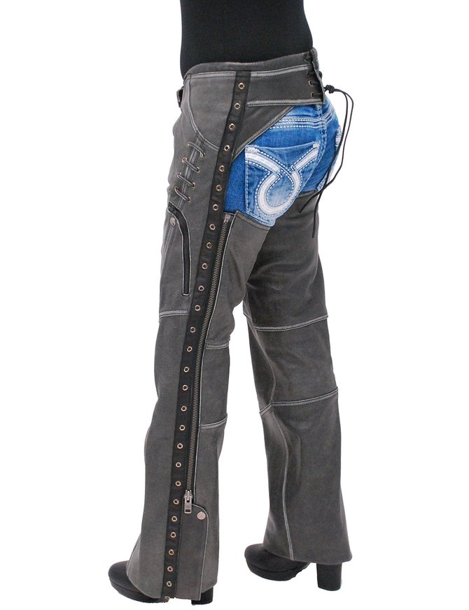 Milwaukee Eyelet Trim Stretch Thigh Vintage Gray Leather Chaps w/Zip Pocket #CL6536EYGY