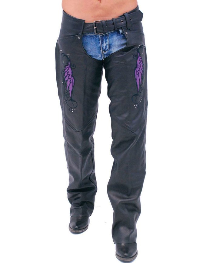 Purple Wings Leather Chaps for Women w/Pant Pockets #CL7908PUR