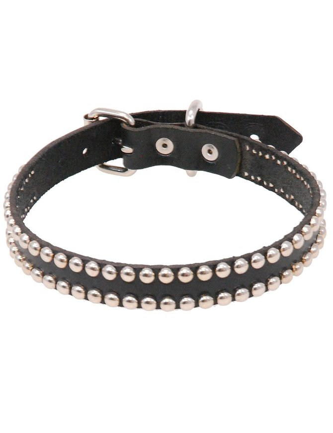 USA Brand Heavy Leather Studded Dog Collar #DC11S2K