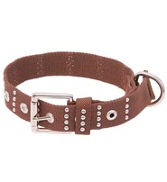 Made in USA Brown Studded Woven Dog Collar #DCC4NSTUD