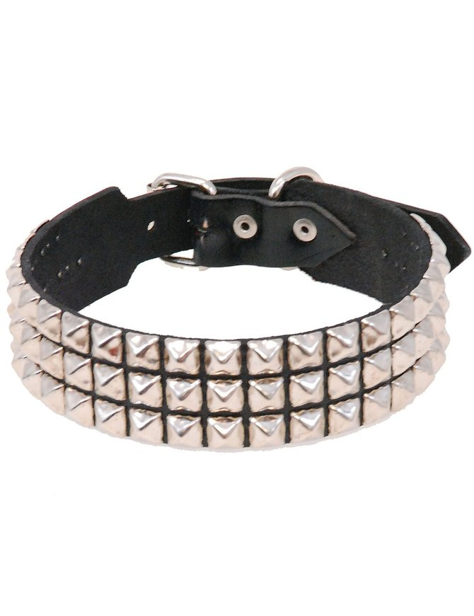 Wide Triple Row Studded Leather Dog Collar #DCX3PYK