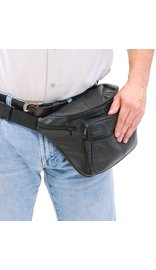 Super Jumbo Black Leather Waist Bag Fanny Pack #FPX3090K