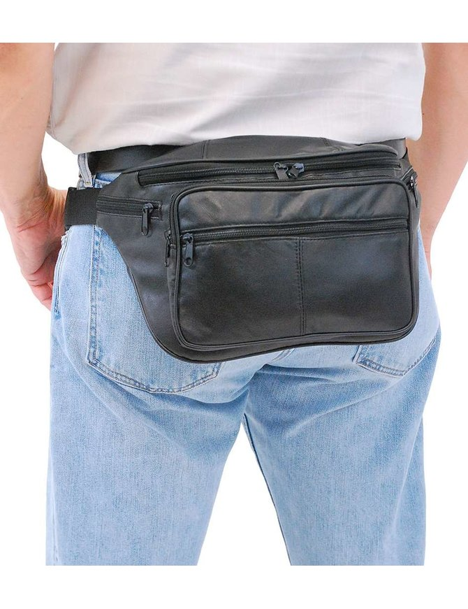 Super Jumbo Black Leather Waist Bag Fanny Pack #FPX3090K