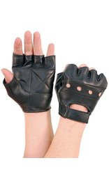 Black Leather Fingerless Gloves #G160