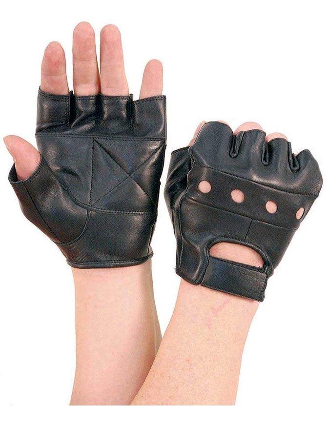 Black Leather Fingerless Gloves #G160