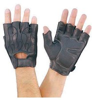 Fingerless Flame Gloves W/gel #G166FLAME