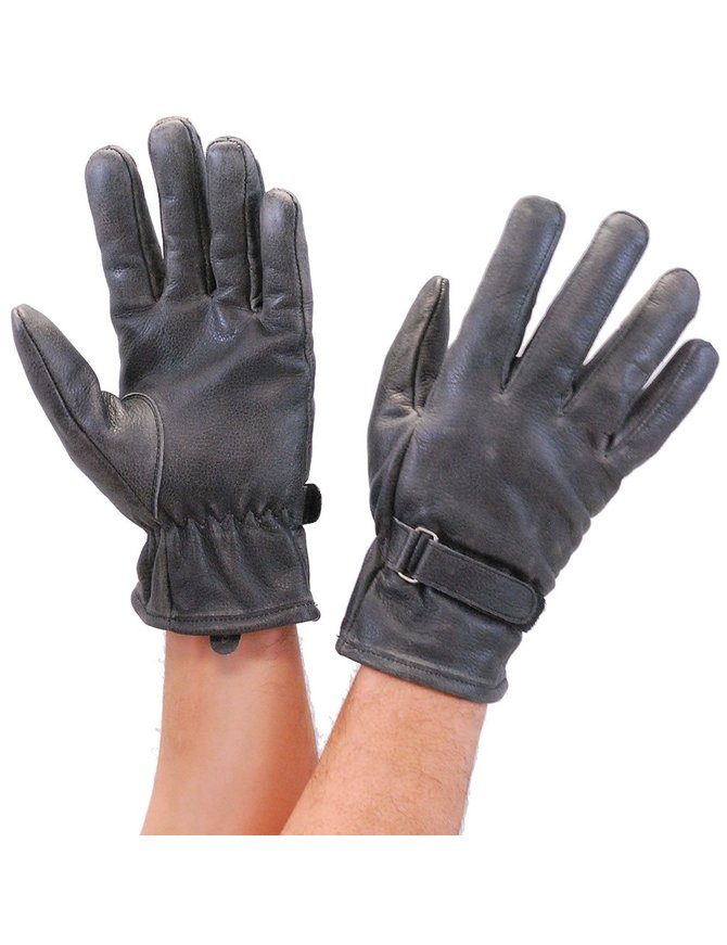 First MFG Vintage Gray Leather Gloves with Adjustable Wrist Strap #G2050GY