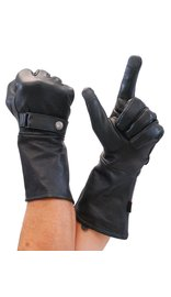 First MFG Leather Gloves Long Cuff Premium Motorcycle Gauntlet #G2160GK