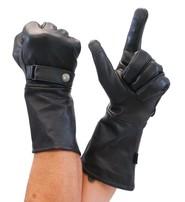 First MFG Leather Gloves Long Cuff Premium Motorcycle Gauntlet #G2160GK