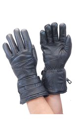Black Leather Gauntlet Glove #G400K