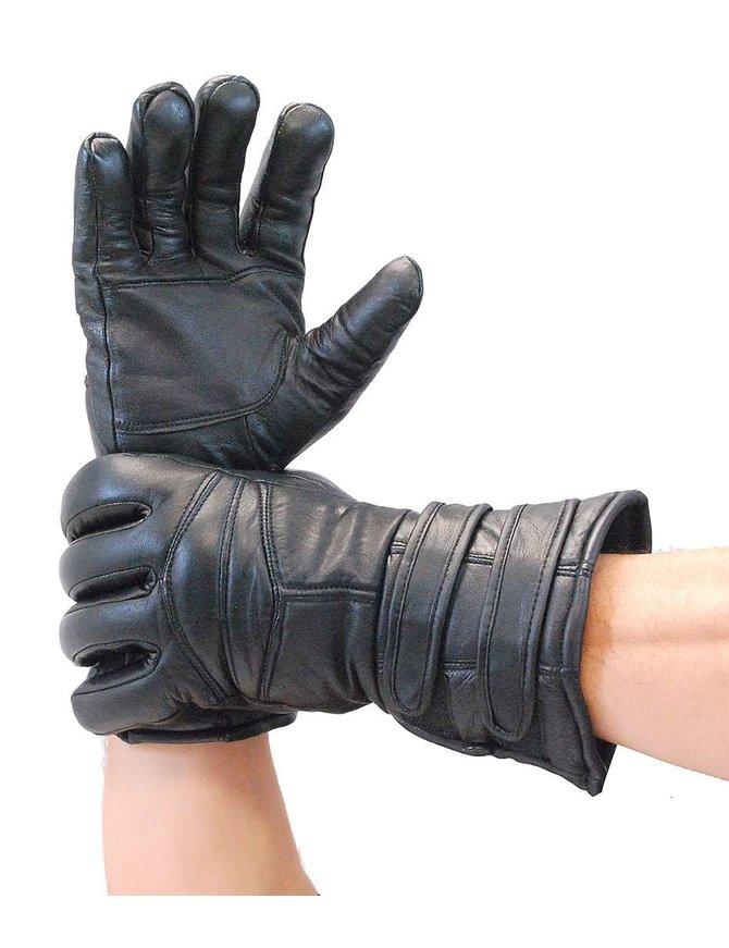 Black Leather Gauntlet Glove #G400K