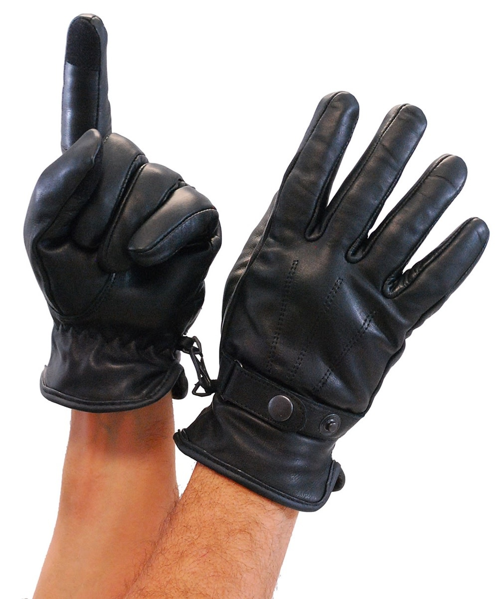 GENUINE SOFT LEATHER STRAP THINSULATE MOTORCYCLE WINTER RIDING GLOVES Size M