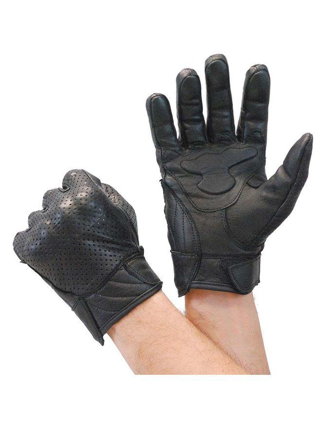 Perforated Leather Riding Glove w/Hard Knuckles & Pads #G7500KNVK