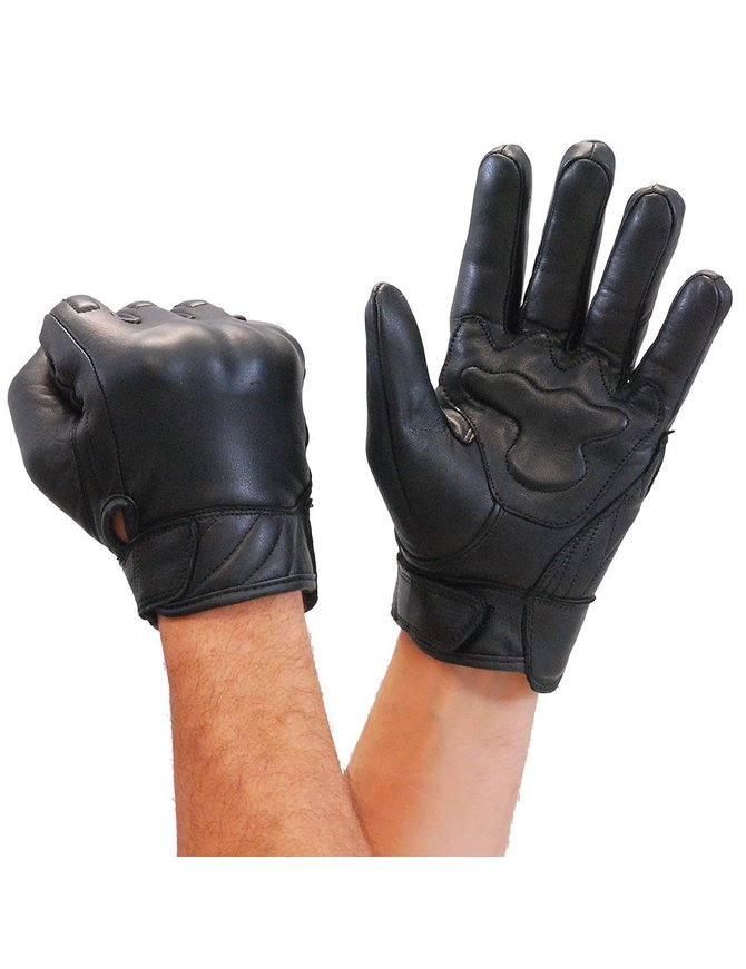 Milwaukee Leather Riding Glove w/Hard Knuckles & Palm Pads #G7501KNK