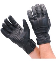 Unik Black Leather Padded Riding Gloves w/Cell Phone Fingertips #G81690K