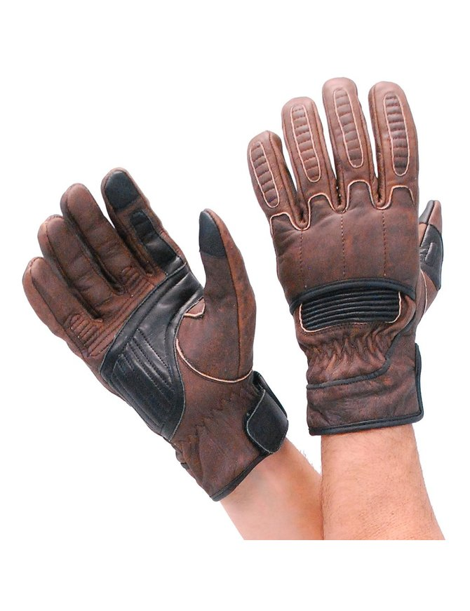 Unik Two-Tone Brown Leather Padded Riding Gloves w/Cell Phone Fingertips #G81691KN