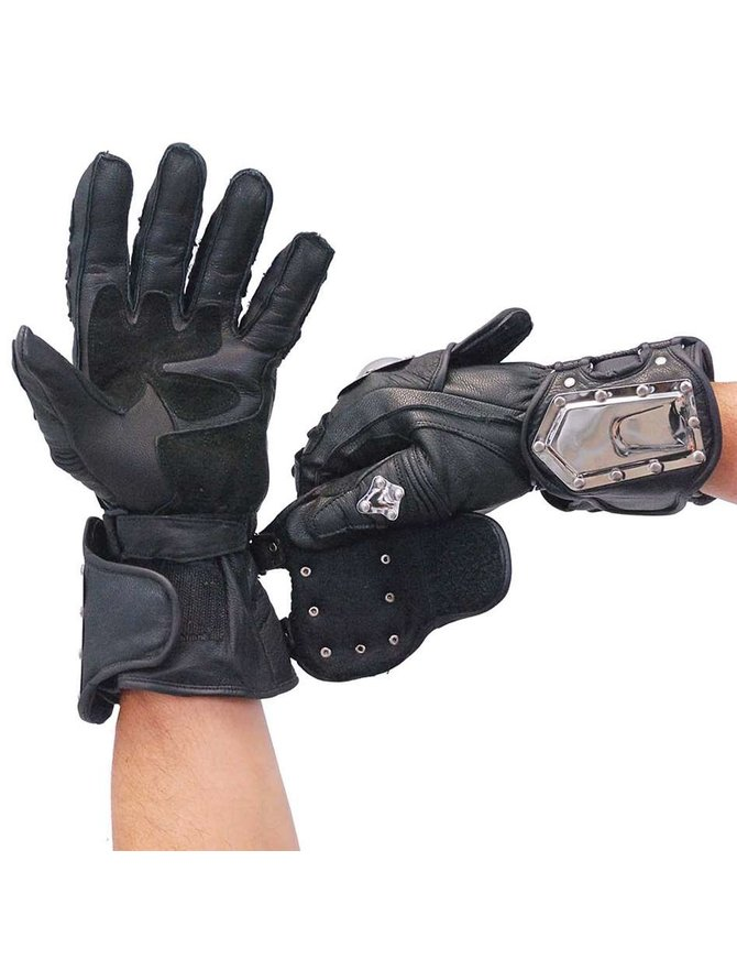 Dream Naked Leather Armor Plate Gauntlet Gloves #G8ARMOR