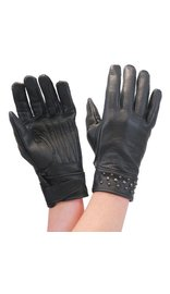 Milwaukee Black Womens Leather Gloves w/Gunmetal Studs #GL77600SK