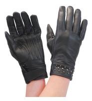 Milwaukee Black Womens Leather Gloves w/Gunmetal Studs #GL77600SK