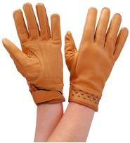 Milwaukee Tan Women's Leather Gloves w/Gunmetal Studs #GL77601ST