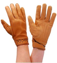 Milwaukee Tan Women's Leather Gloves w/Gunmetal Studs #GL77601ST