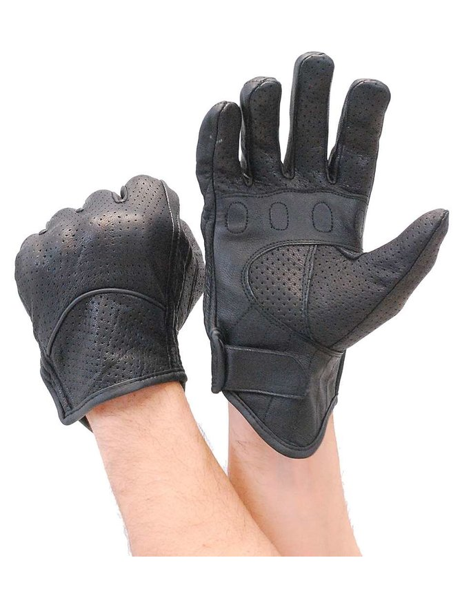 Daniel Smart Perforated Leather Riding Glove w/Hard Knuckles & EZ On Pull Tab #GM76VKNK
