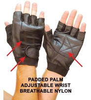Pro Leather Fingerless Gloves w/Nylon #GPAKEG