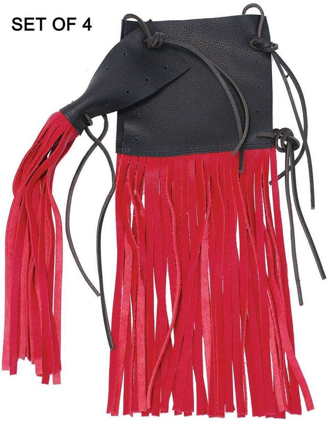 Jamin Leather Red Leather Grip Covers 10 Inch Fringe Set Of 4 #GR13049R4