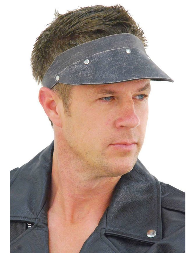Jamin Leather Hand Crafted Black Vintage Leather Gambler Visor #H11051VAK