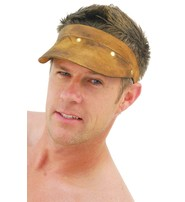 Jamin Leather Hand Crafted Brown Vintage Leather Gambler Visor #H11052VAN