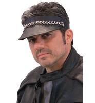 Jamin Leather Black Leather Chain Visor #H11053CK
