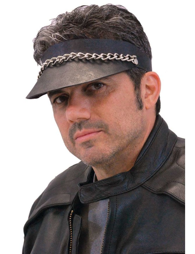Jamin Leather Black Leather Chain Visor #H11053CK