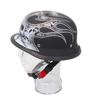 Daniel Smart Novelty German Style Silver Skull Flame Helmet in Flat Black Finish #H11SKFK