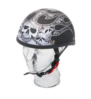 Daniel Smart Novelty Eagle Silver Skull Flame Helmet in Flat Black Finish #H12SKFK