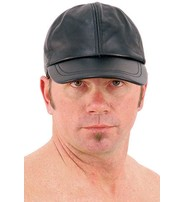 Black Lambskin Leather Baseball / Jockey Cap #H43LK