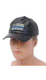 Thin Blue Line Flag Leather Baseball Cap #H44BLUELINE