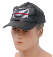 Thin Red Line Flag Leather Baseball Cap #H44REDLINE