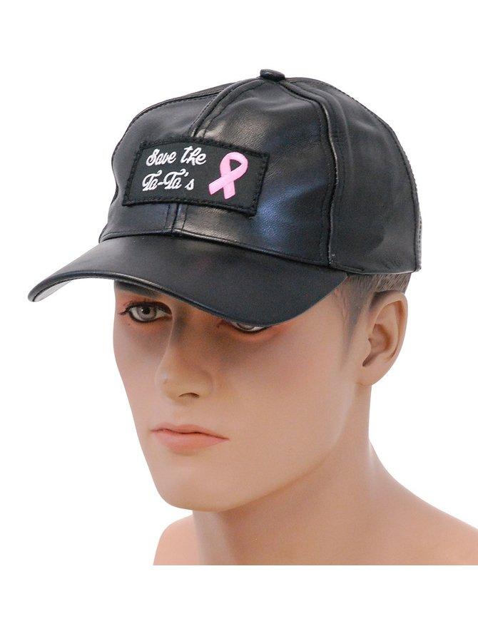 Save The Ta-Ta's Pink Ribbon Leather Baseball Cap #H44TATA
