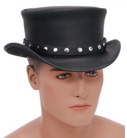 USA Brand SteamPunk Black Leather Top Hat w/Rivet Hatband #H56504RK