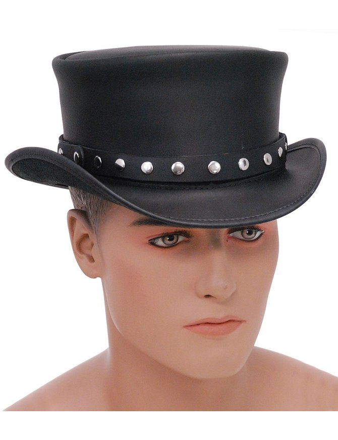 Made in USA SteamPunk Black Leather Top Hat w/Rivet Hatband #H56504RK