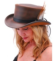 USA Brand SteamPunk Brown Leather Top Hat w/Black Hatband #H5651N