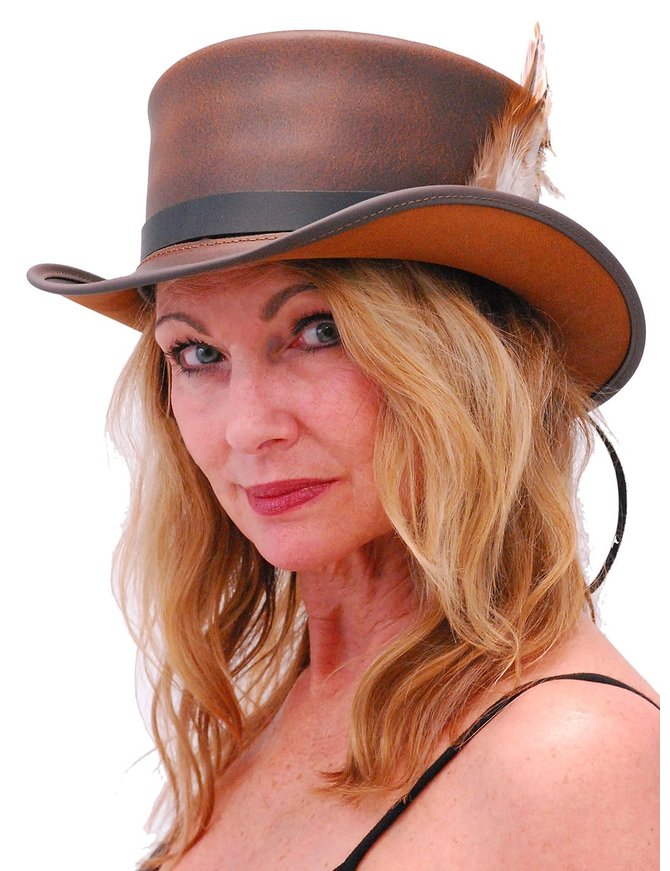 Made in USA SteamPunk Brown Leather Top Hat w/Black Hatband #H5651N
