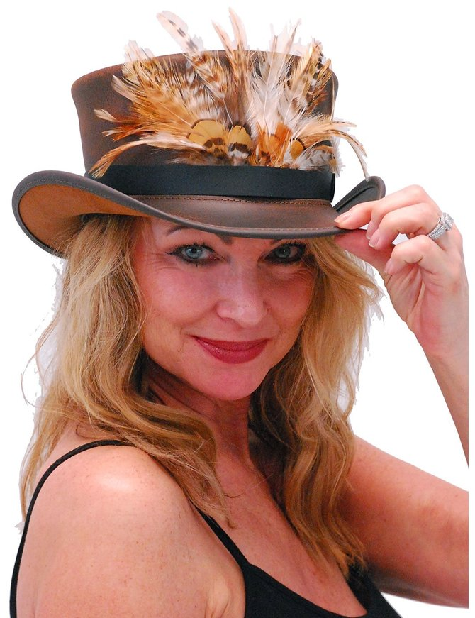 USA Brand SteamPunk Brown Leather Top Hat w/Large Feather Hatband #H5651XFN