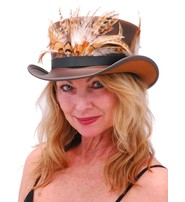 Made in USA SteamPunk Brown Leather Top Hat w/Large Feather Hatband #H5651XFN