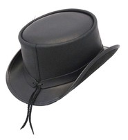 Made in USA SteamPunk Black Leather Marlow Top Hat #H63MARLO