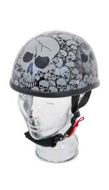 Novelty Eagle Silver Skull Flame Helmet in Shiny Black Finish #H6401SGY