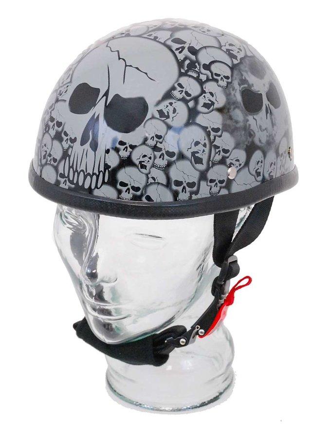 Dream Novelty Eagle Silver Skull Flame Helmet in Shiny Black Finish #H6401SGY