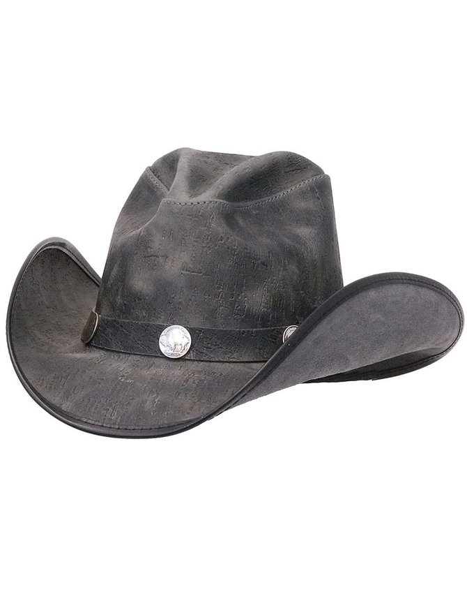 USA Brand Gray Leather Durango Hat w/Buffalo Nickel Hatband #H67CYCLONE