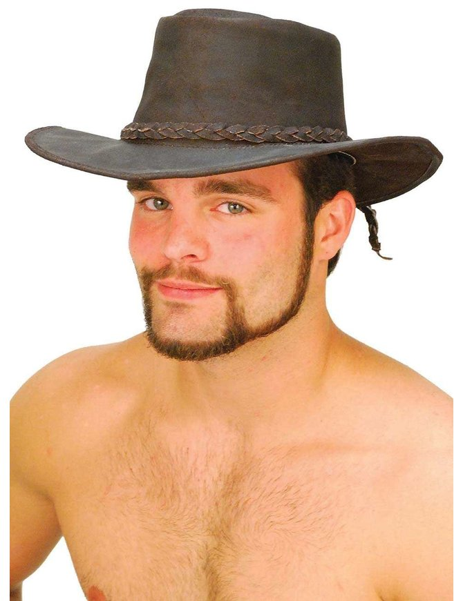 Shapeable Dark Brown Leather Outback Western Hat #H851N