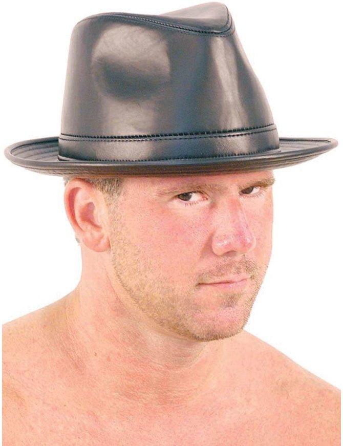 USA Brand Leather Curl Rim Fedora - Italian Hat #H9902K